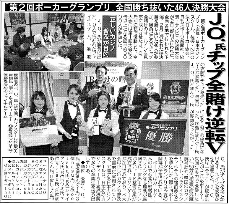 日刊スポーツ掲載記事190314